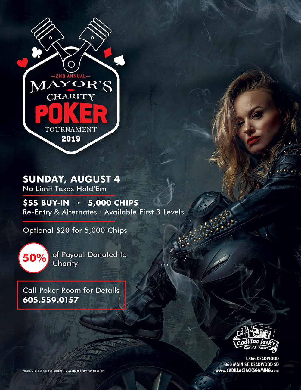 2nd Annual Mayor's Charity Poker Tournament 2019. Sunday, August 4. No Limit Texas Hold'em $55 Buy-in 5000 Chips. Re-entry and Alternates. Available First 3 Levels. Optional $20 for 5000 Chips. 50% of Payout Donated to Charity. Call Poker Room for Details 605-559-0157. Pre-register or buy-in in the poker room management reserves all rights.